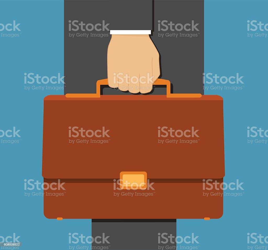 Businessman hand holding briefcase vector illustration vector art illustration
