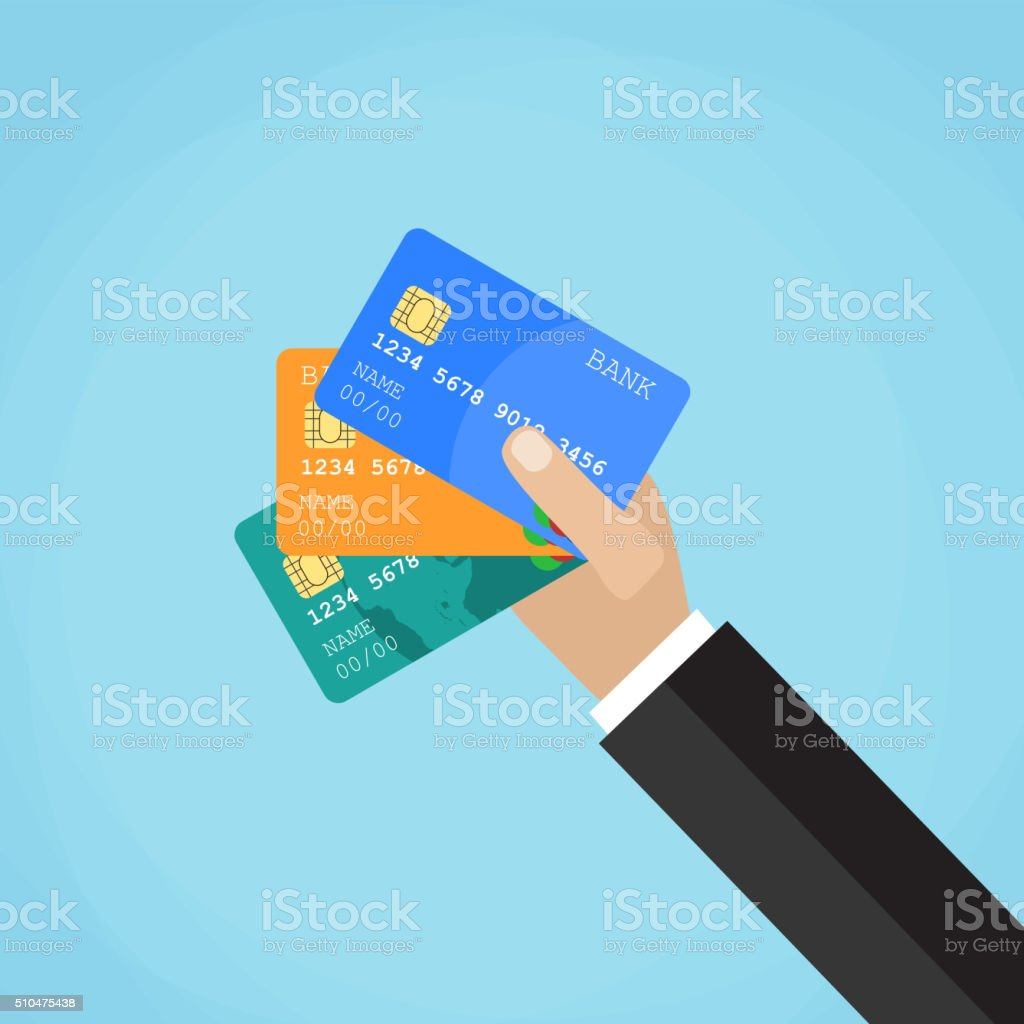 Businessman hand holding credit card vector art illustration