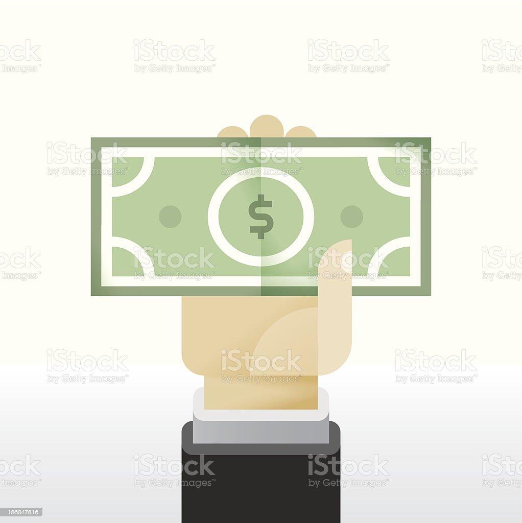Businessman hand holding Dollar banknote vector art illustration
