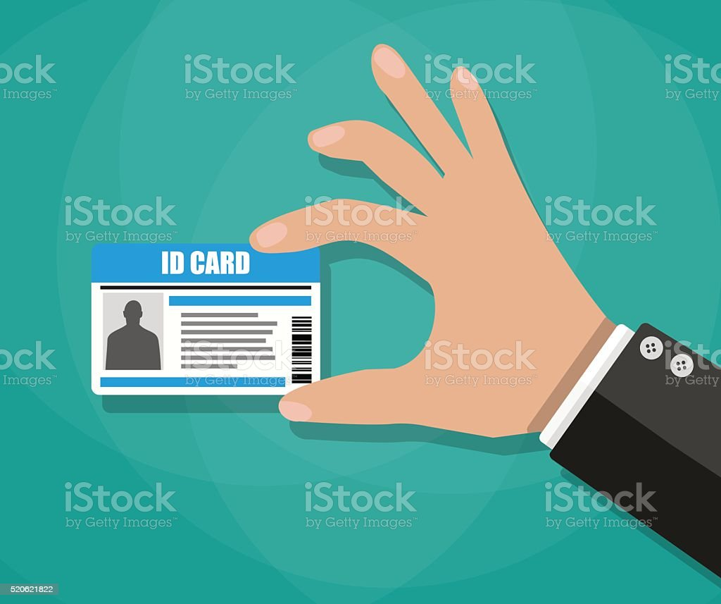Businessman Hand holding Id card vector art illustration