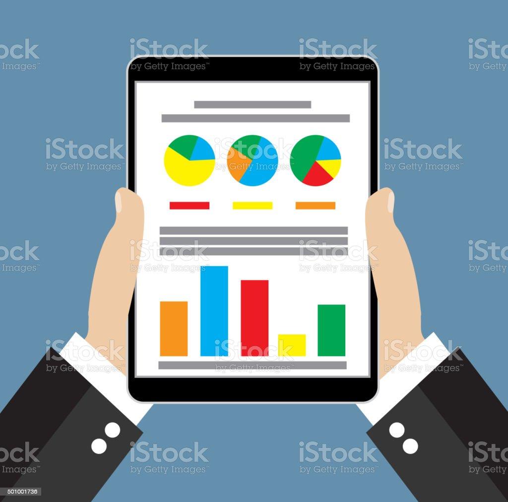 Businessman hand holding tablet vector art illustration