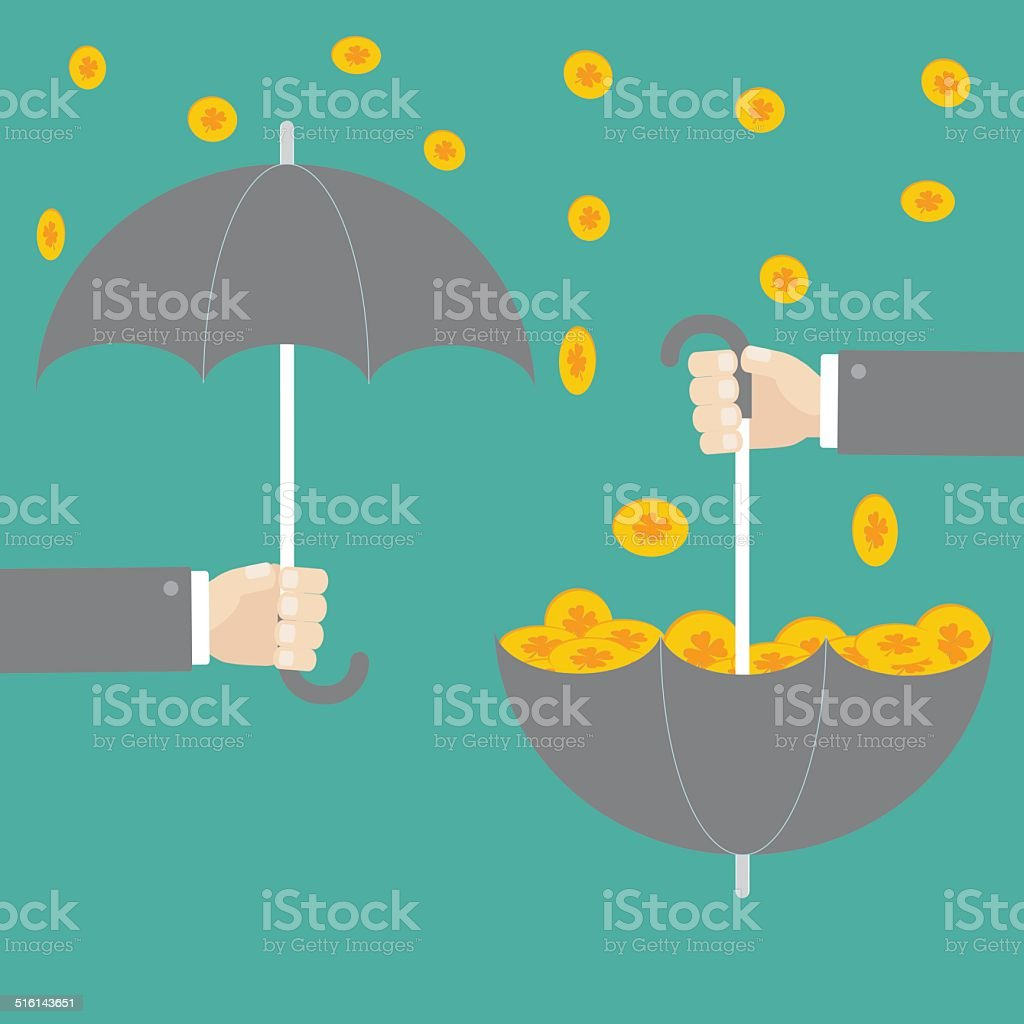 Businessman hand holding umbrella with success gold clover coin. Flat stock photo