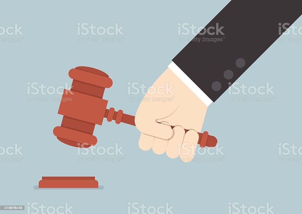 Businessman hand knocking judge's gavel vector art illustration