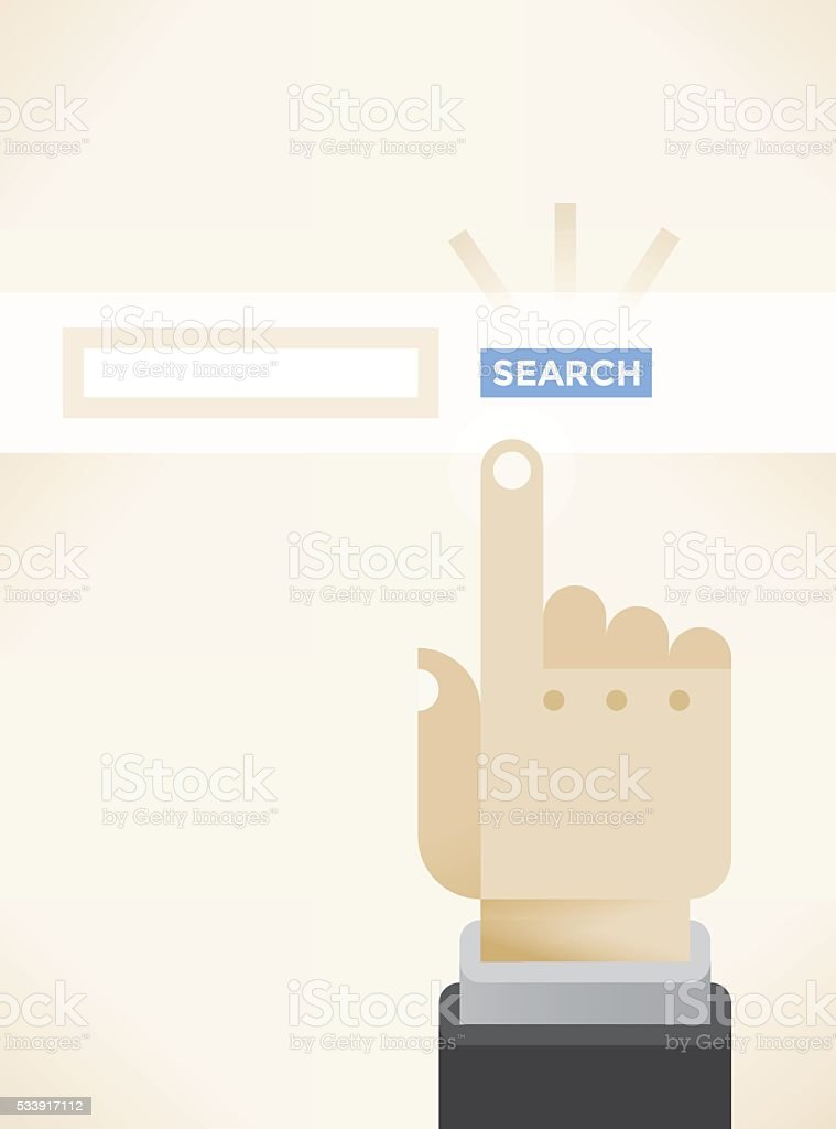 Businessman hand over web internet browser search button vector art illustration