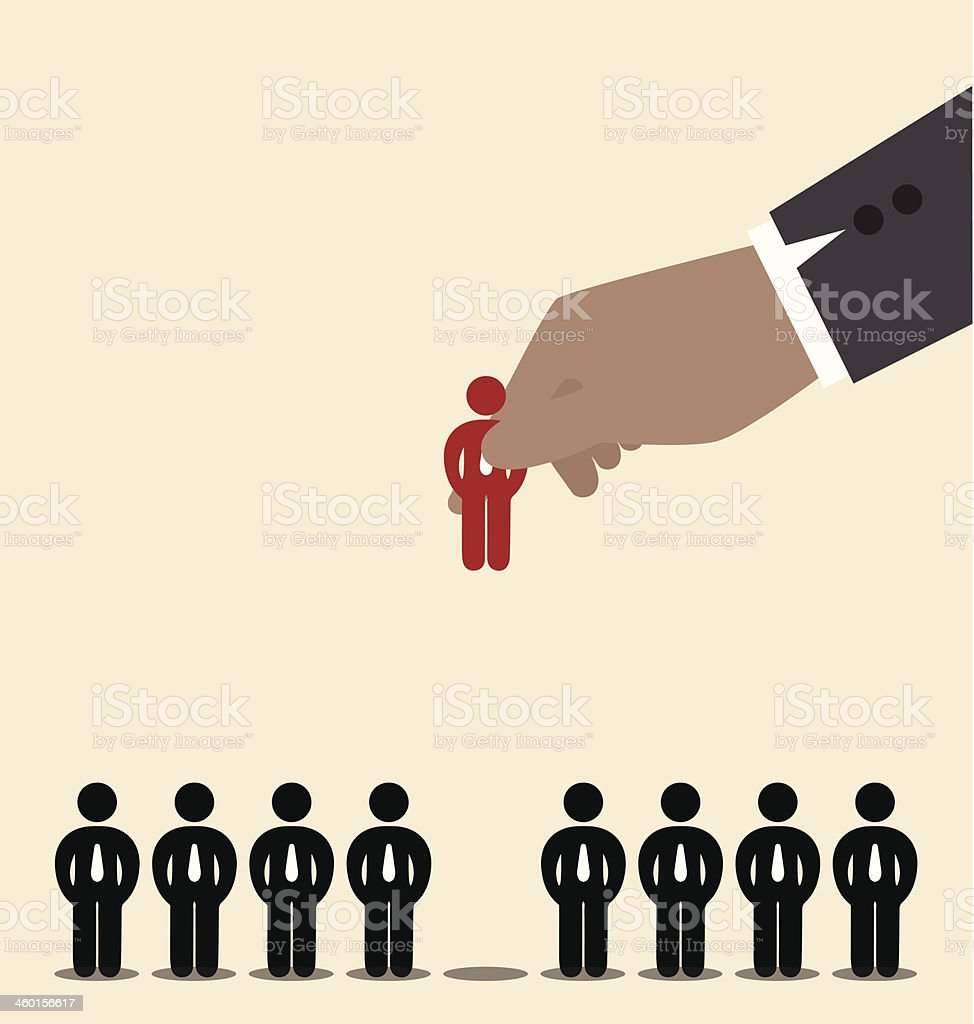 Businessman hand pick red man icon among black vector art illustration