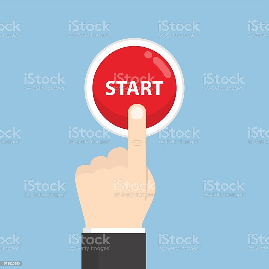 Businessman hand pressing start button vector art illustration