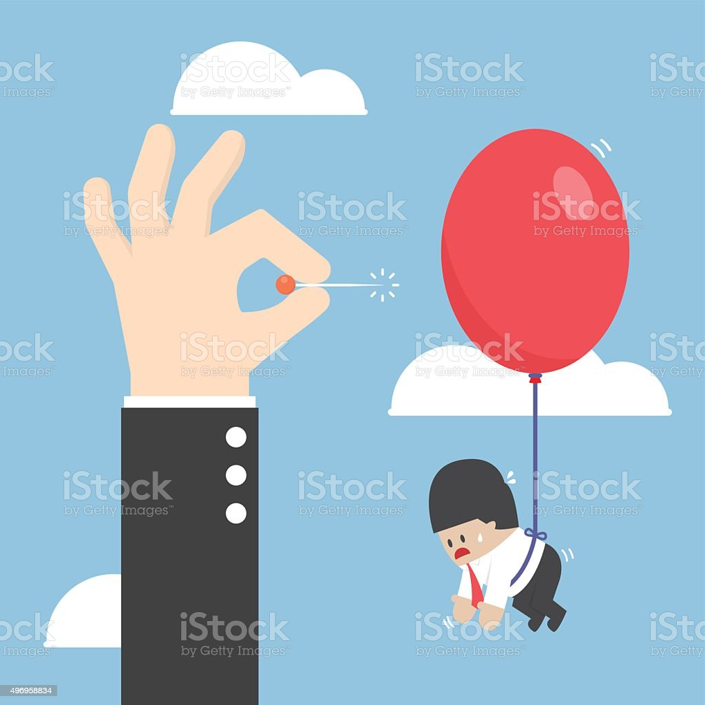 Businessman hand pushing needle to pop the balloon vector art illustration