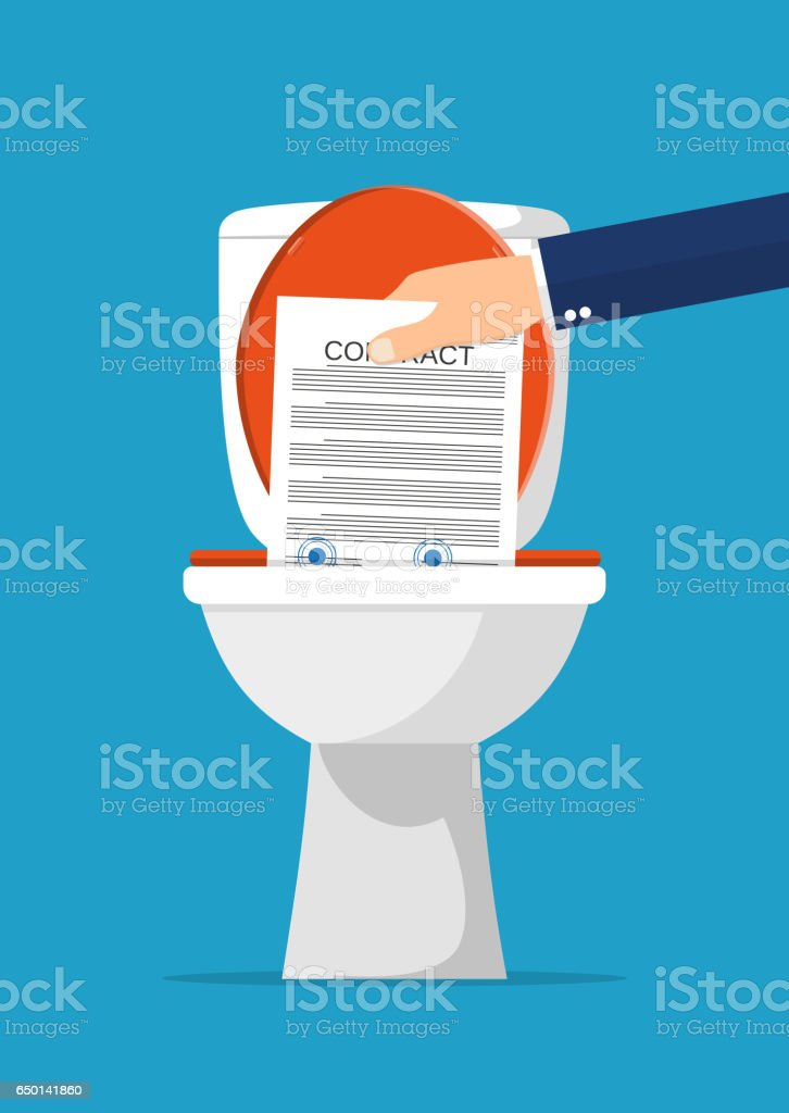 Businessman hand putting contract papers in toilet vector art illustration