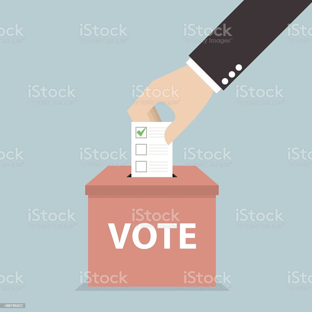 Businessman hand putting voting paper in the ballot box, Voting concept vector art illustration