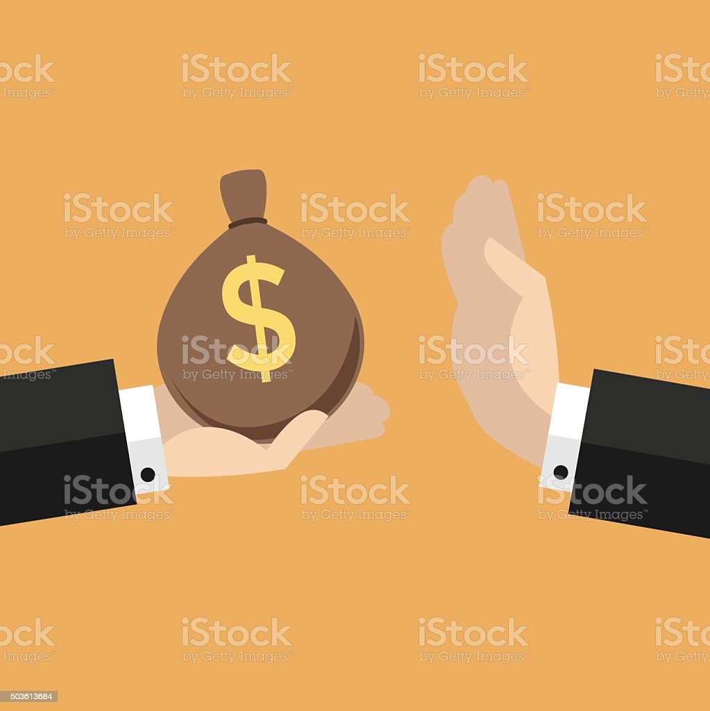 Businessman hand refusing the offered bribe money bag vector art illustration
