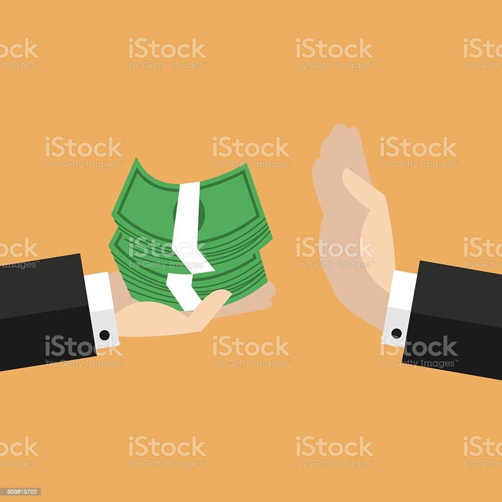 Businessman hand refusing the offered money vector vector art illustration