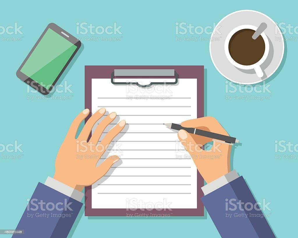 Businessman Hand Sign Business Document vector art illustration