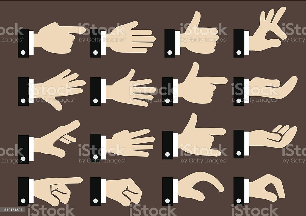 Businessman Hand Signs and Gestures Vector Icon Set vector art illustration