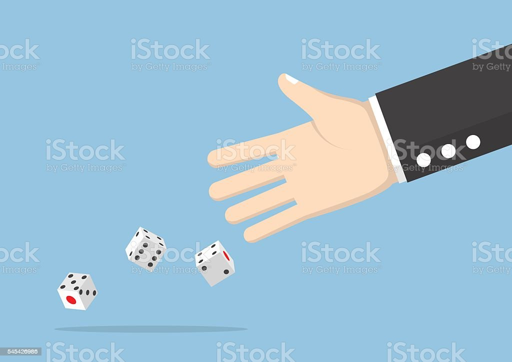 Businessman hand throwing dice vector art illustration