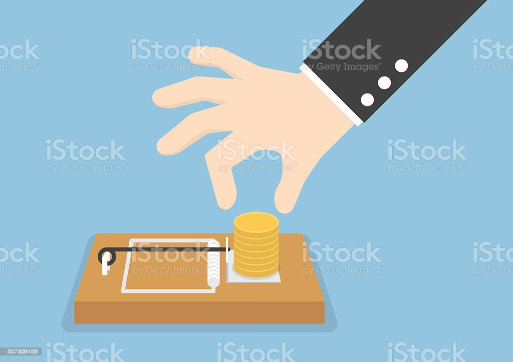 Businessman hand try to pick money from mousetrap vector art illustration