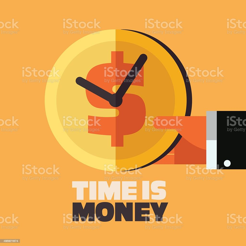 Businessman hand with clock an money symbol.  Time is money vector art illustration
