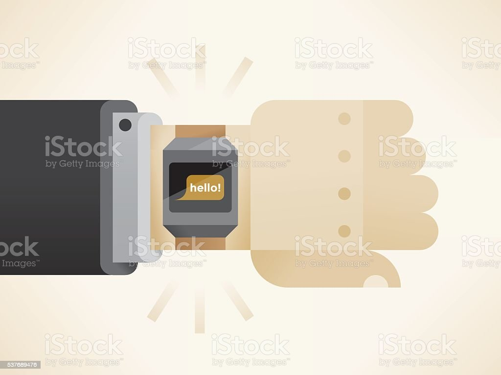 Businessman hand with smart watch and Hello text screen message. vector art illustration