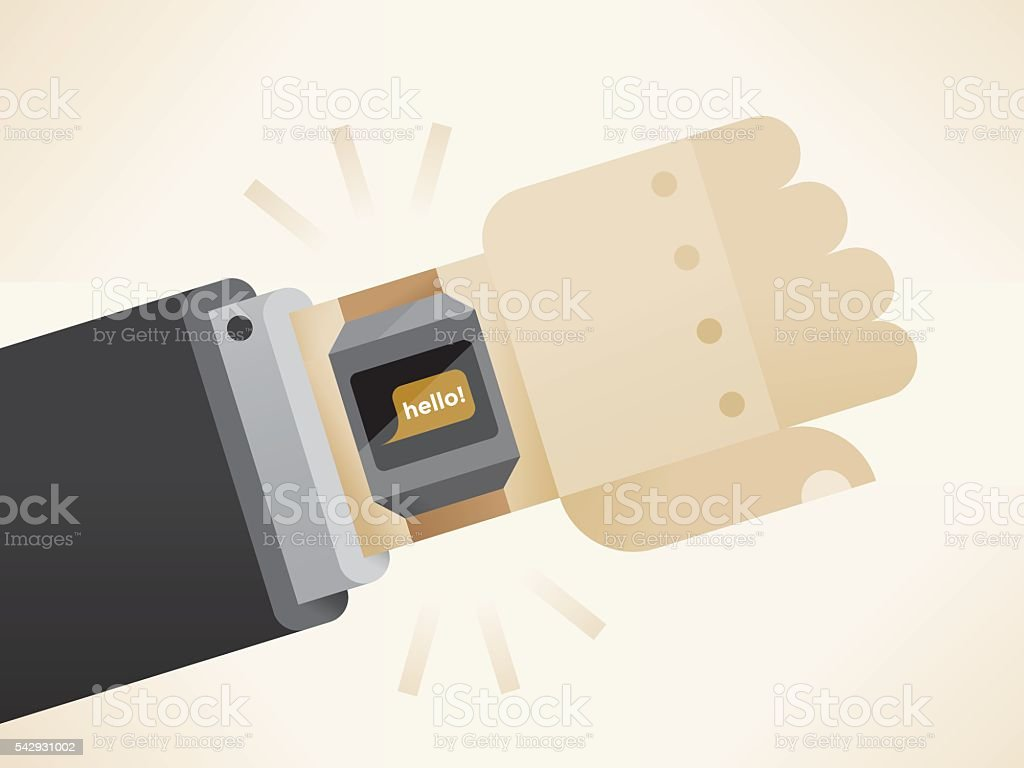 Businessman hand with smart watch and Hello text screen message vector art illustration