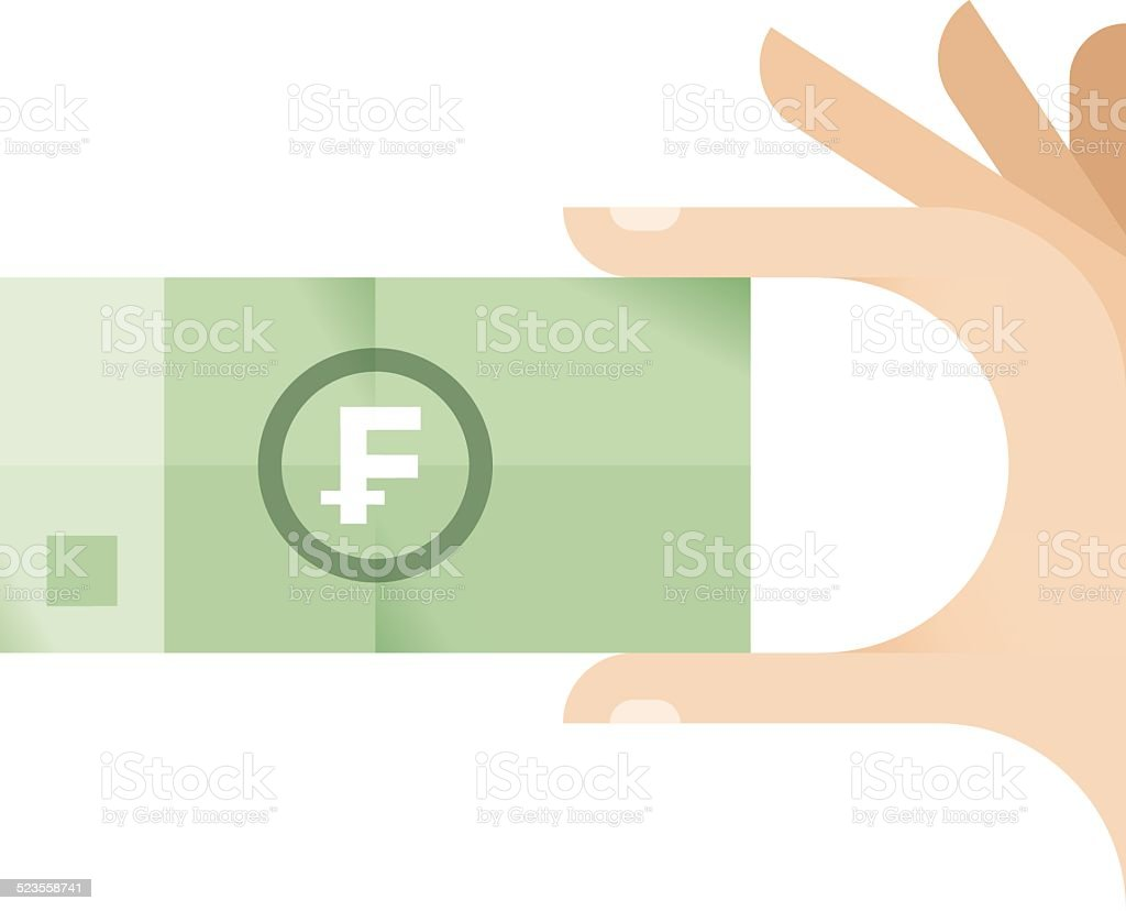 Businessman hand with Swiss Franc (CHF) money banknote vector art illustration