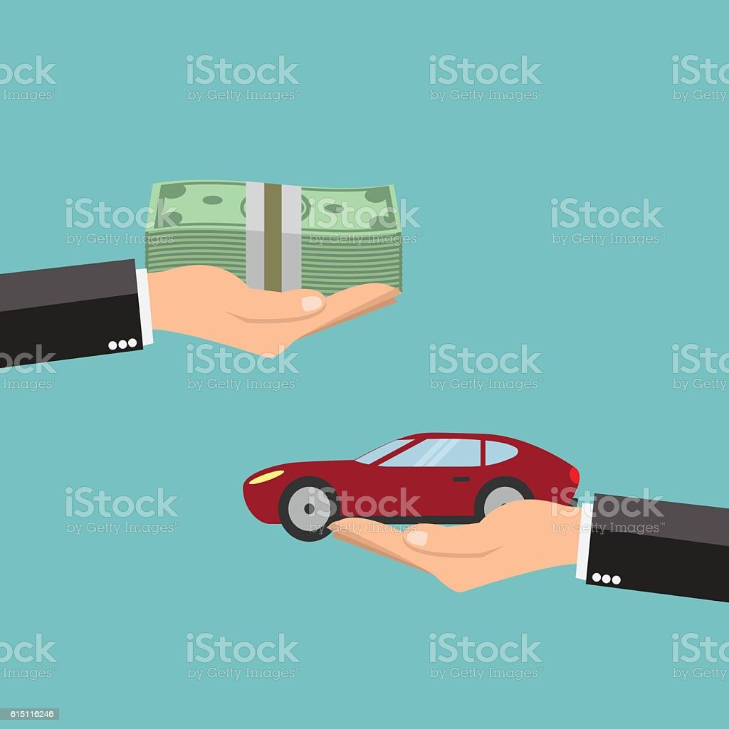 Businessman hands buying car - vector illustration vector art illustration