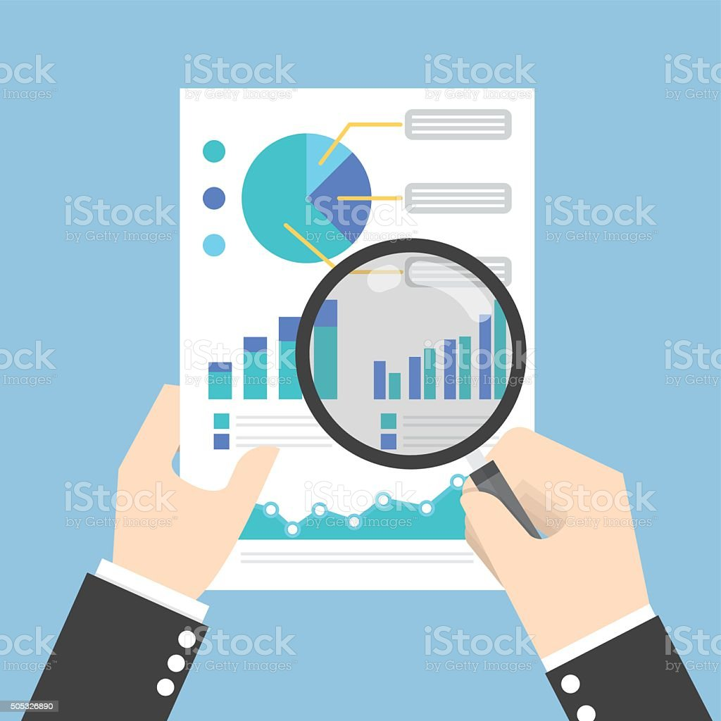 Businessman hands holding a magnifying glass and analysing the d vector art illustration