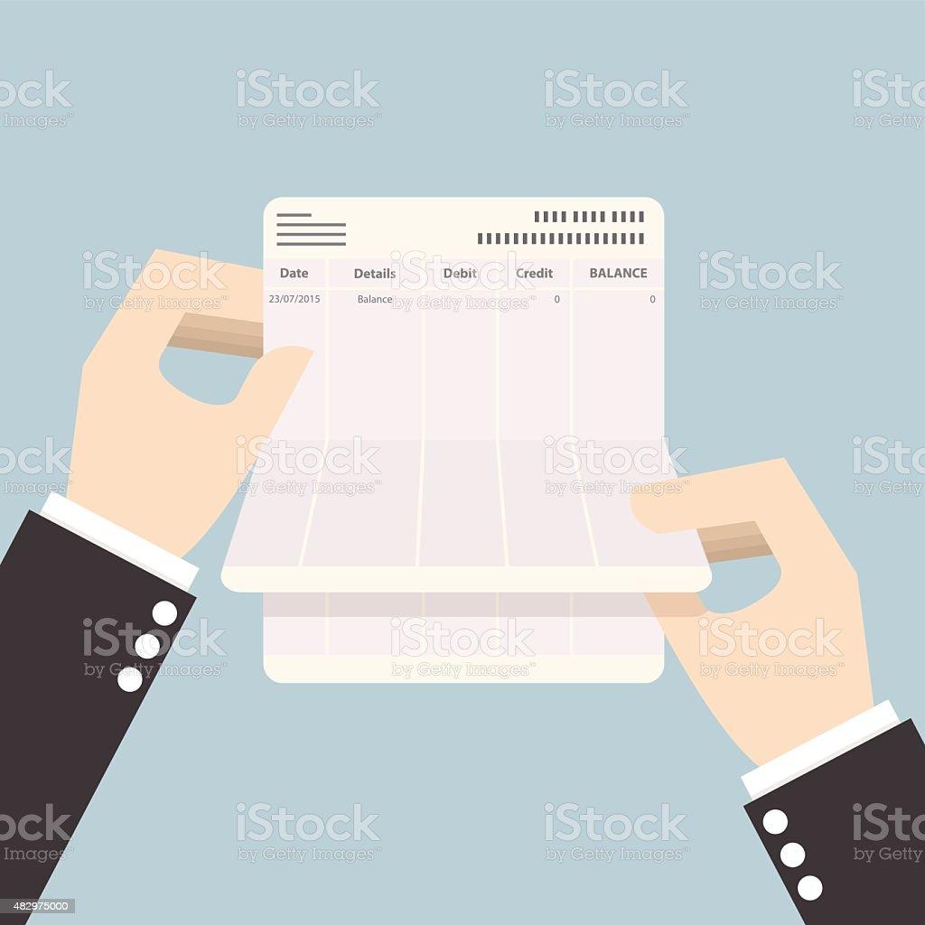 Businessman hands holding passbook with no balance vector art illustration