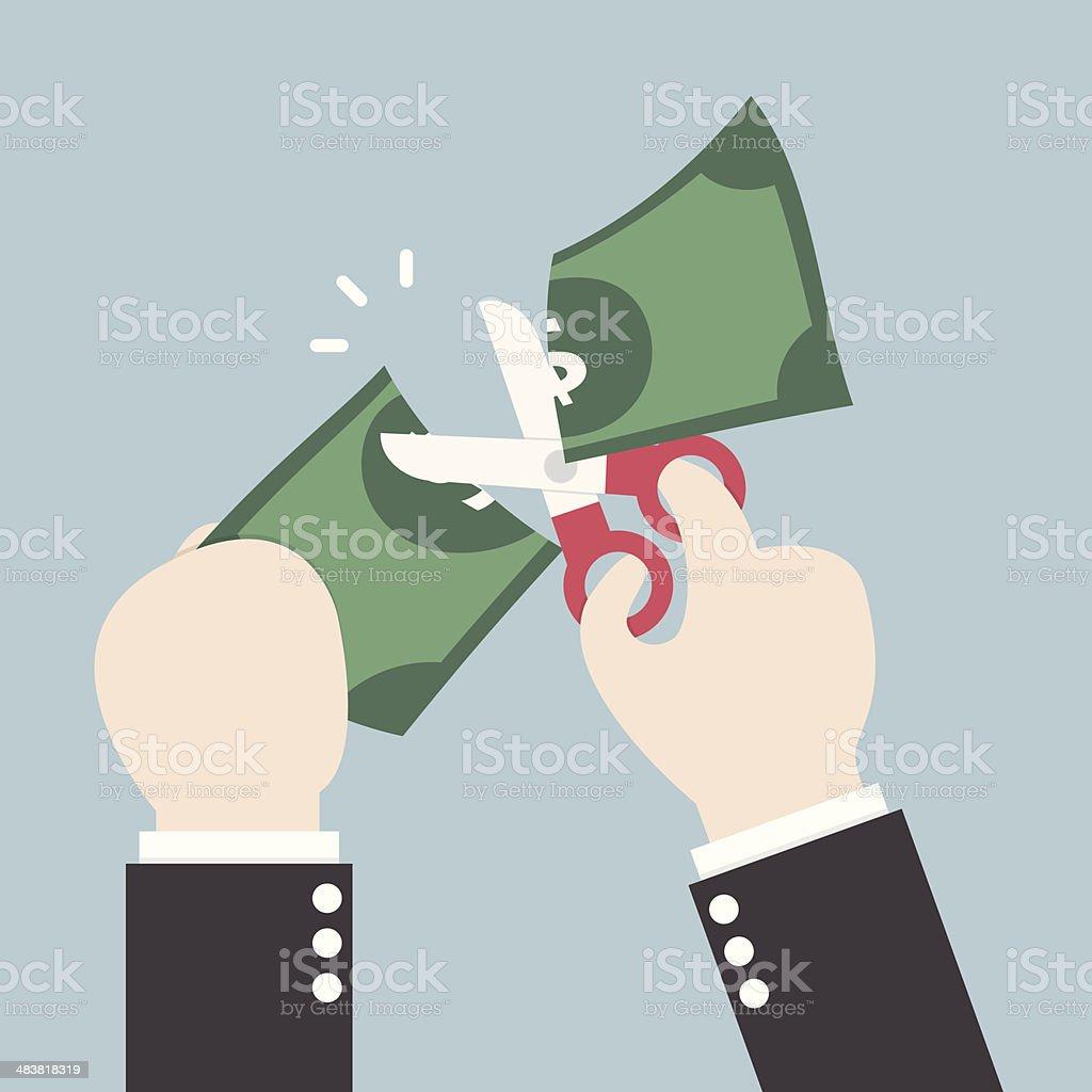Businessman Hands holding scissors and cutting dollar vector art illustration