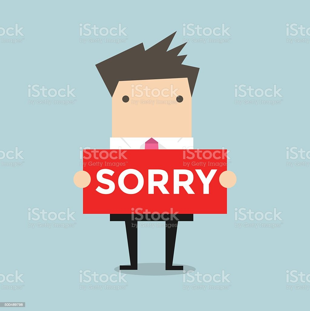 Businessman hands holding sorry sign vector art illustration
