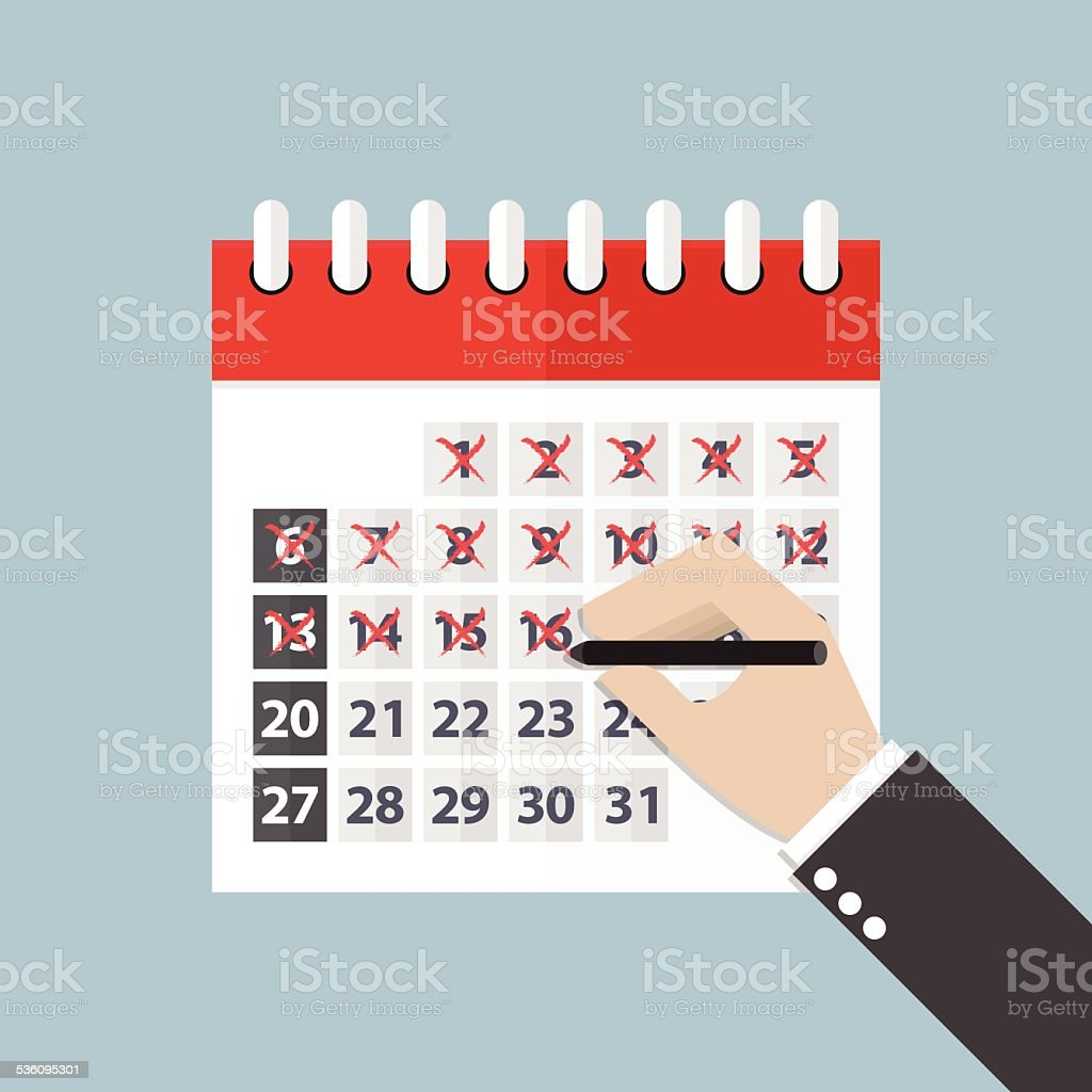 Businessman hands mark on the calendar vector art illustration