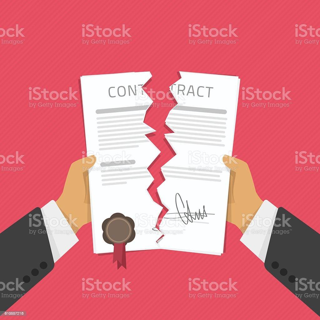 Businessman hands tearing apart contract. vector art illustration