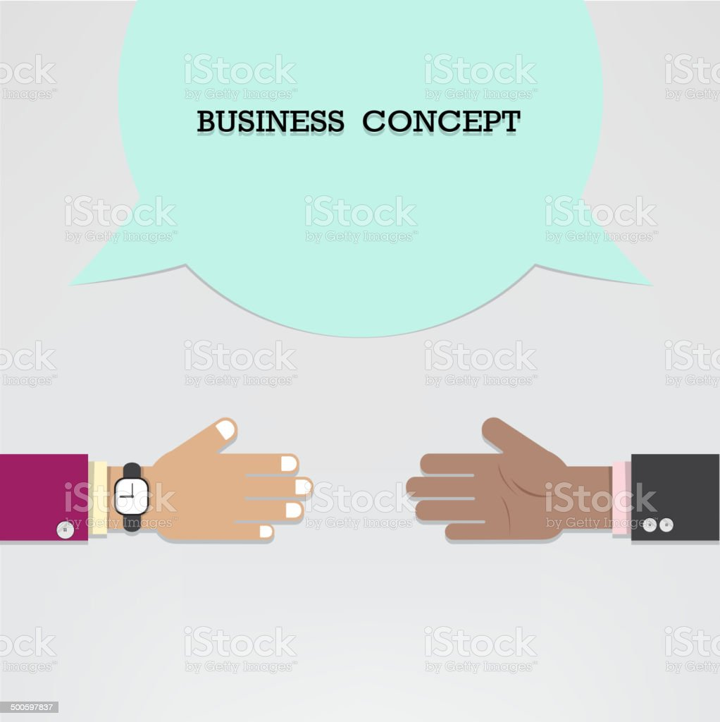 Businessman hands with speech bubble royalty-free stock vector art