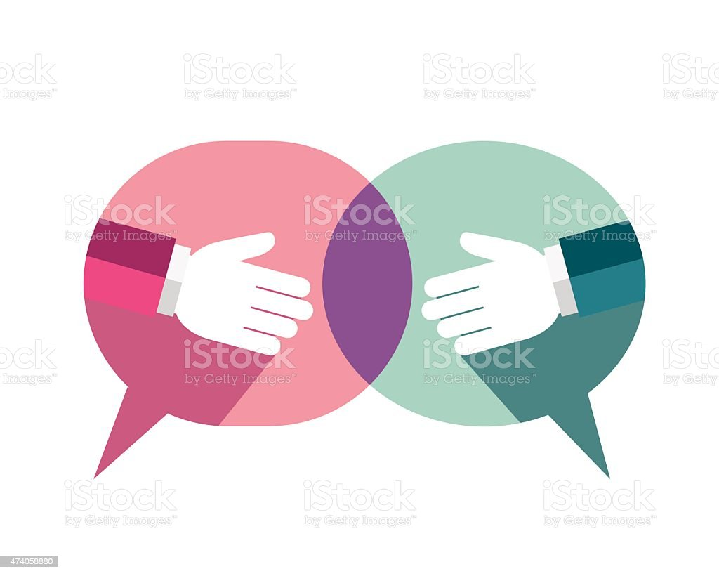 Businessman handshake background with speech bubble vector art illustration