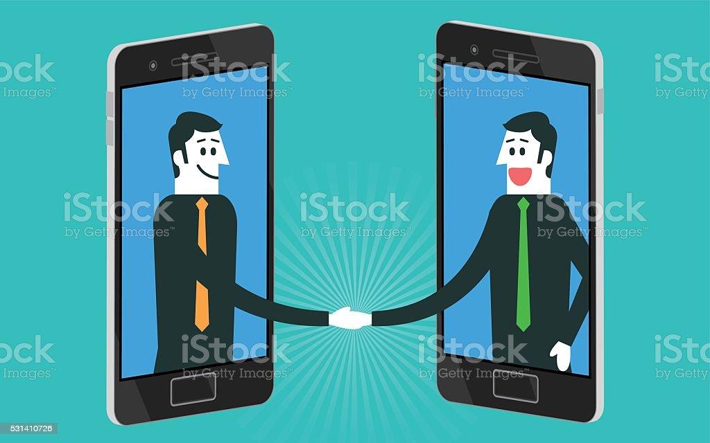 Businessman handshake on smartphone vector art illustration