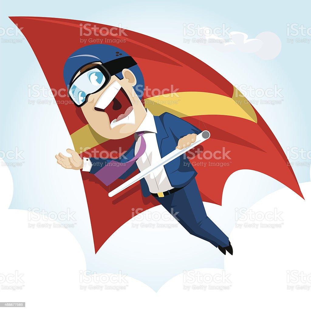 Businessman Hang Glider vector art illustration