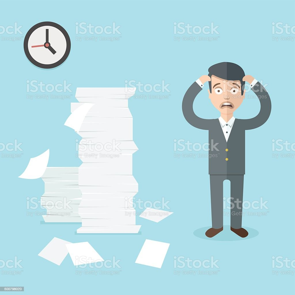 Businessman has a lot of work to do. Office illustration. vector art illustration