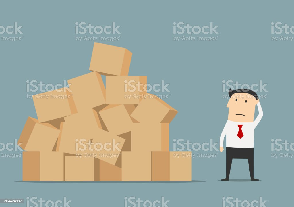 Businessman has problem with delivery and storage vector art illustration