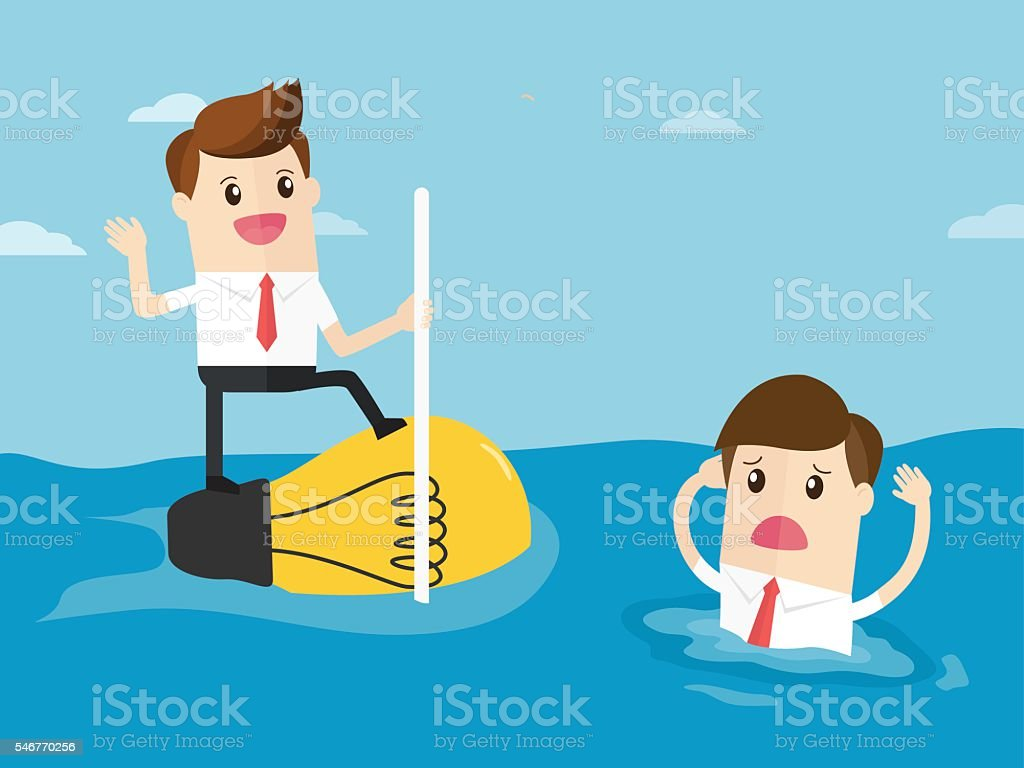 businessman have creative ideas and employee drowning  in sea vector art illustration