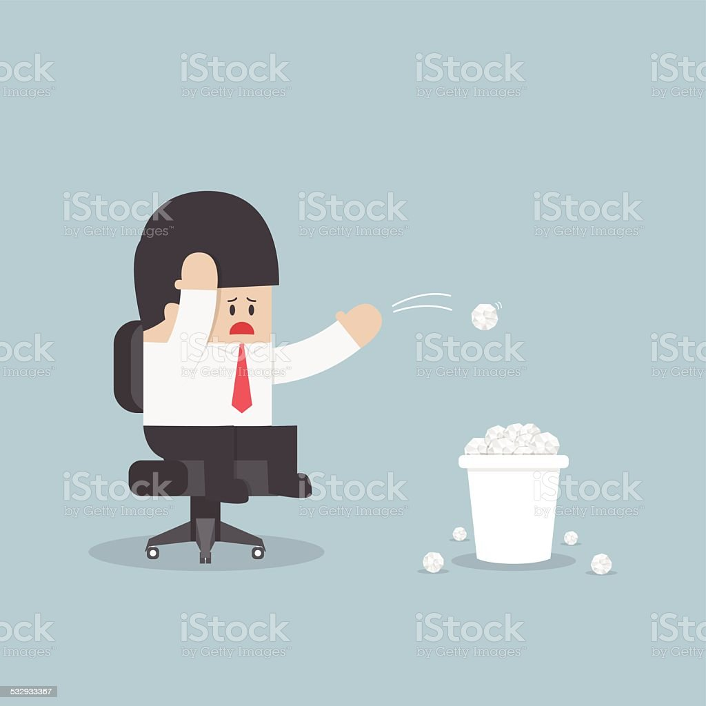 Businessman have no idea and throwing crumpled paper to trash vector art illustration