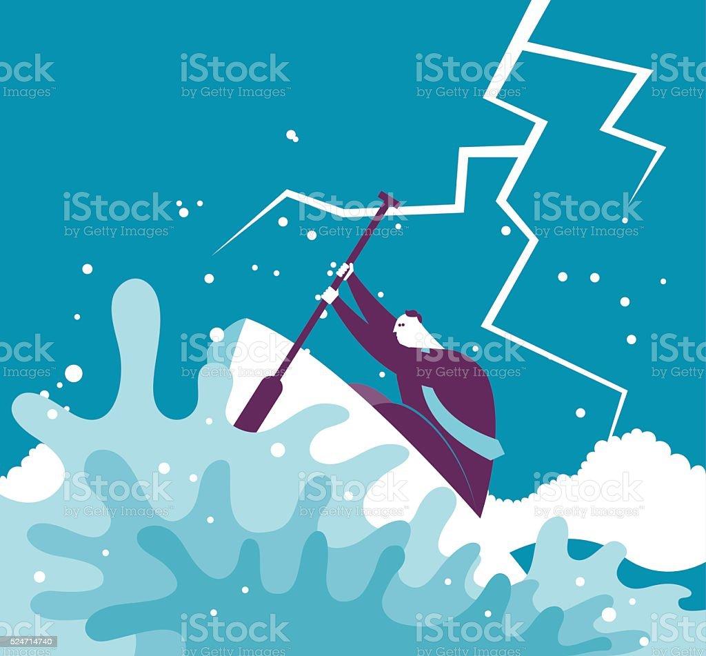 businessman having hardship vector art illustration