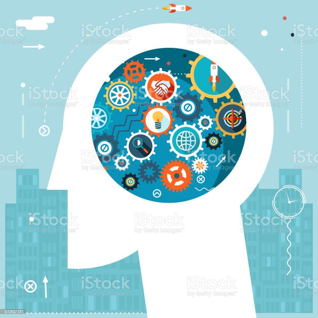 Businessman Head Idea Design Vector Illustration vector art illustration