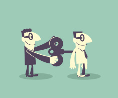 Businessman help another man turn on wind-up key in back vector art illustration
