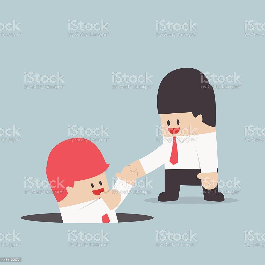 Businessman helping his friend vector art illustration