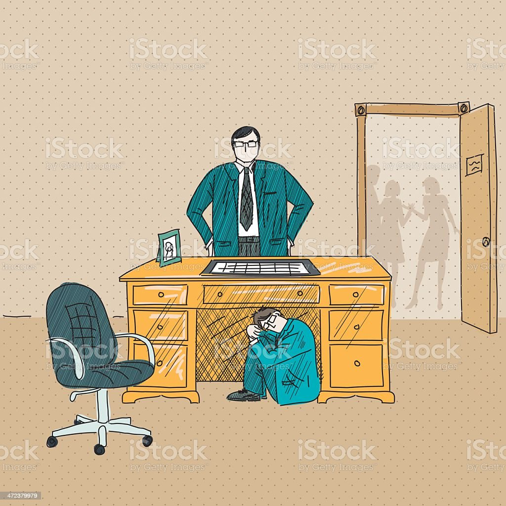 Businessman Hiding From His Angry Boss Under The Desk vector art illustration
