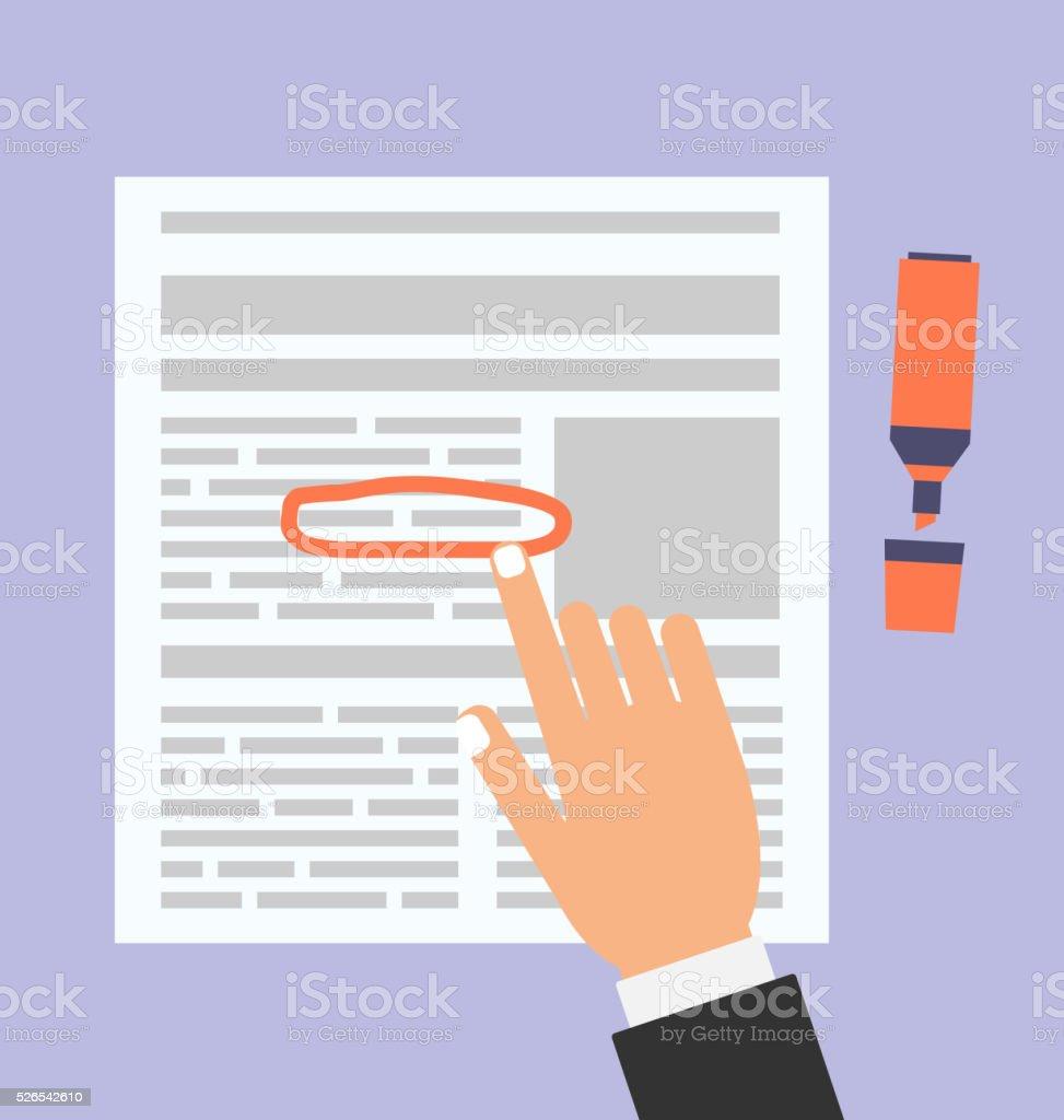 Businessman Highlights the Text in Document Marker vector art illustration