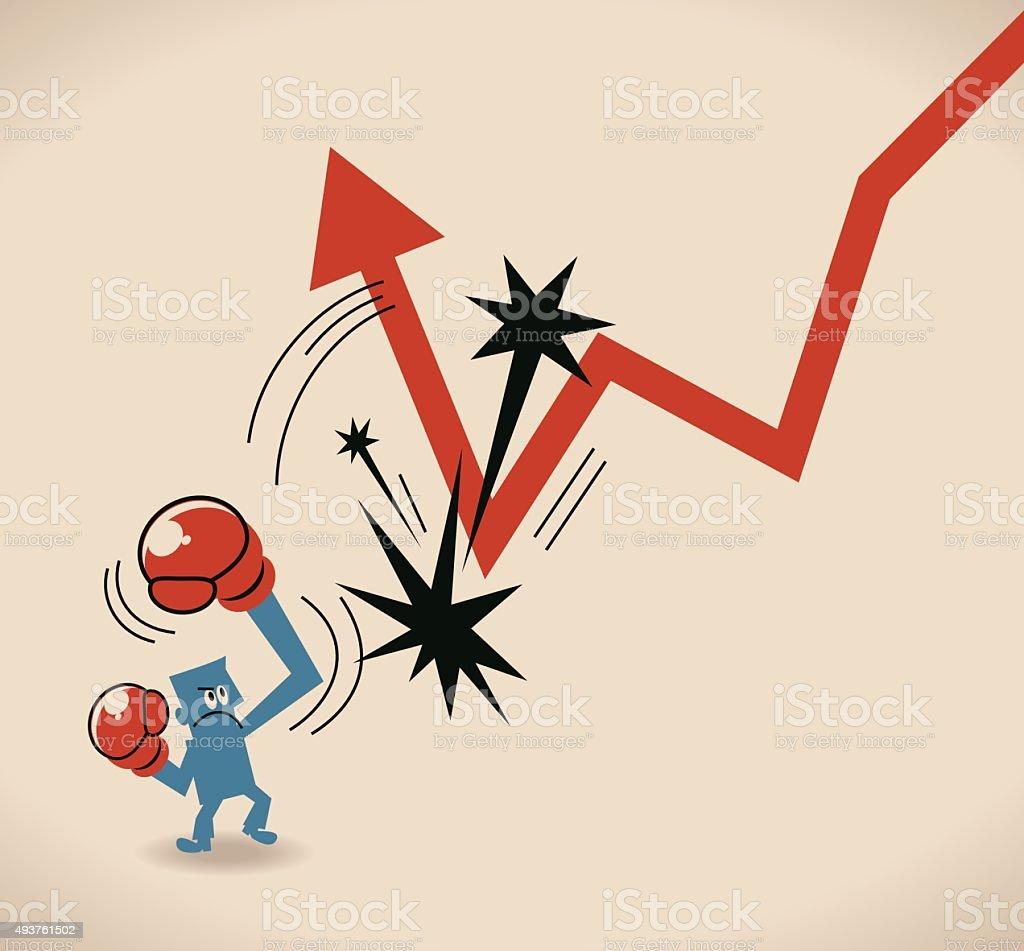Businessman hitting a decline arrow to make arrow go up vector art illustration