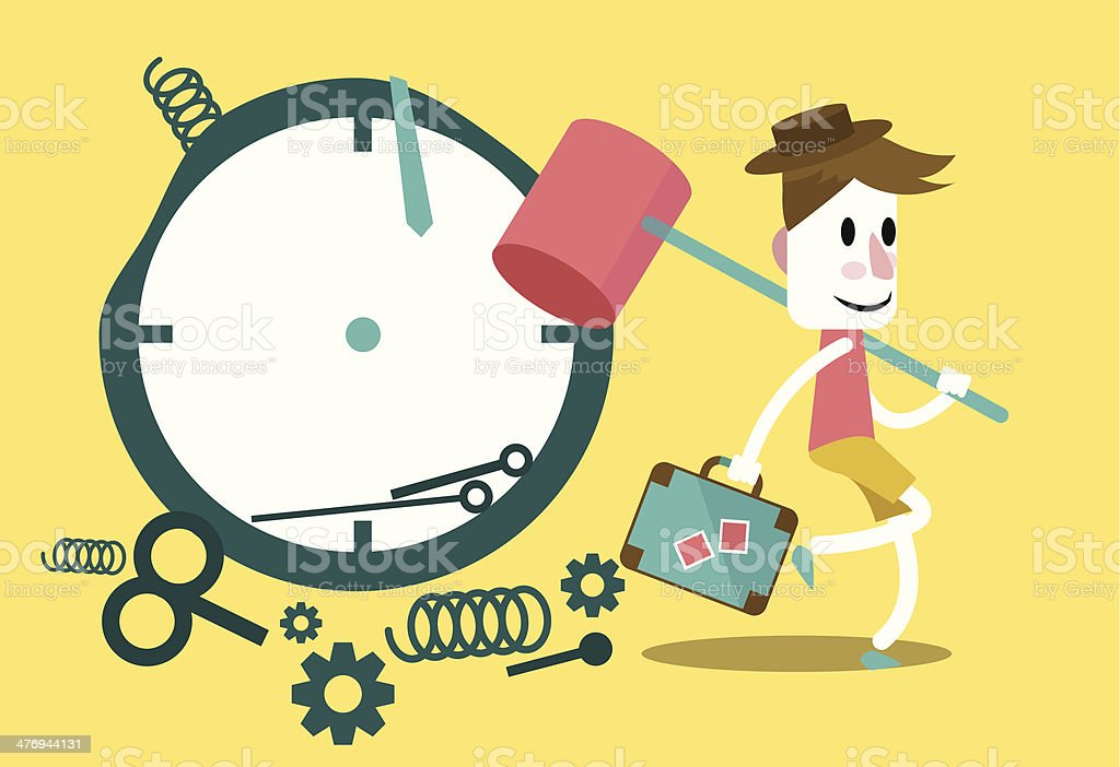 Businessman hitting clock with mallet and going on vacation. royalty-free stock vector art