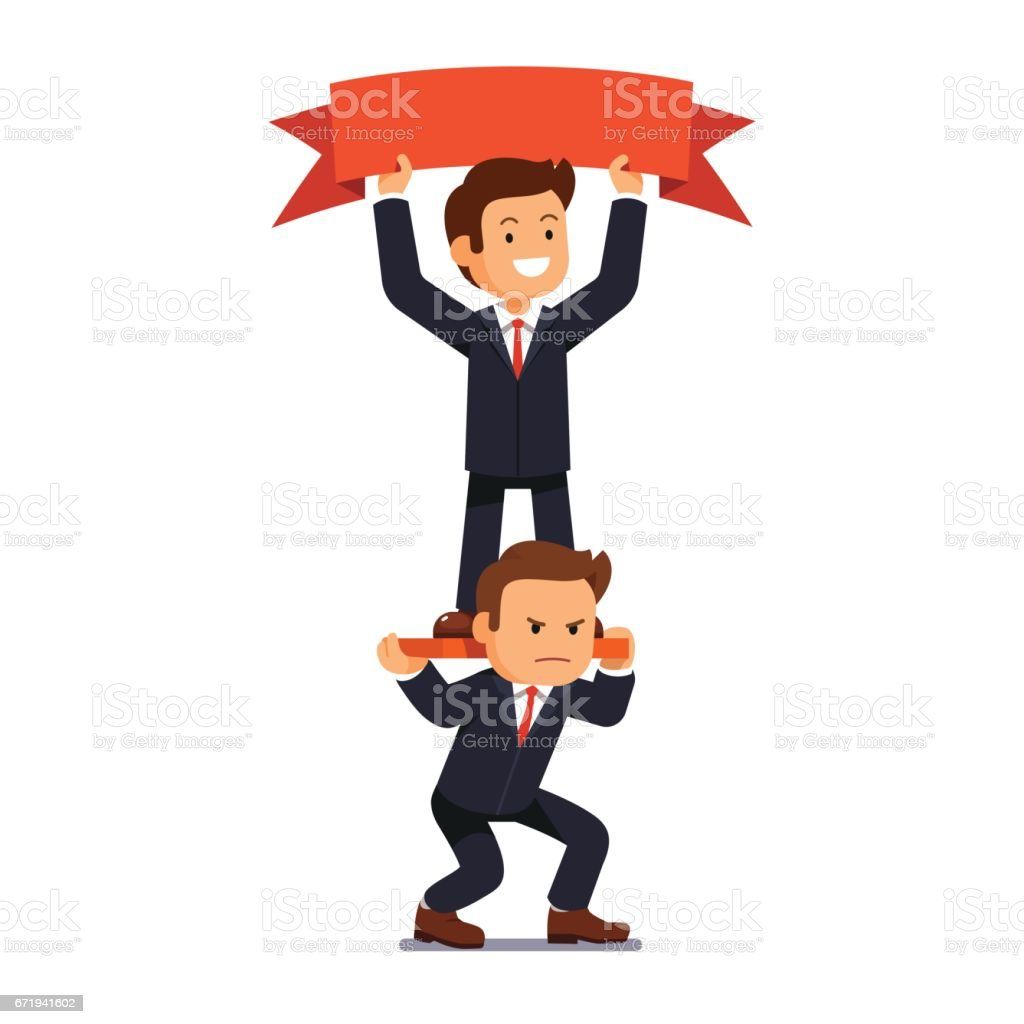 Businessman hold banner standing on shoulders vector art illustration