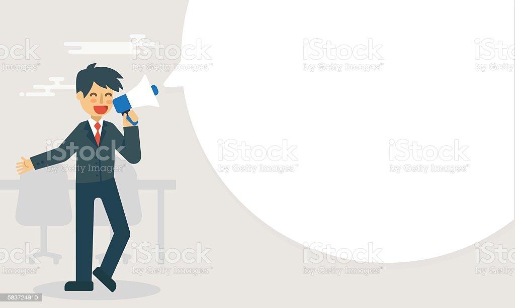 Businessman hold megaphone announce with big bubble speech vector art illustration