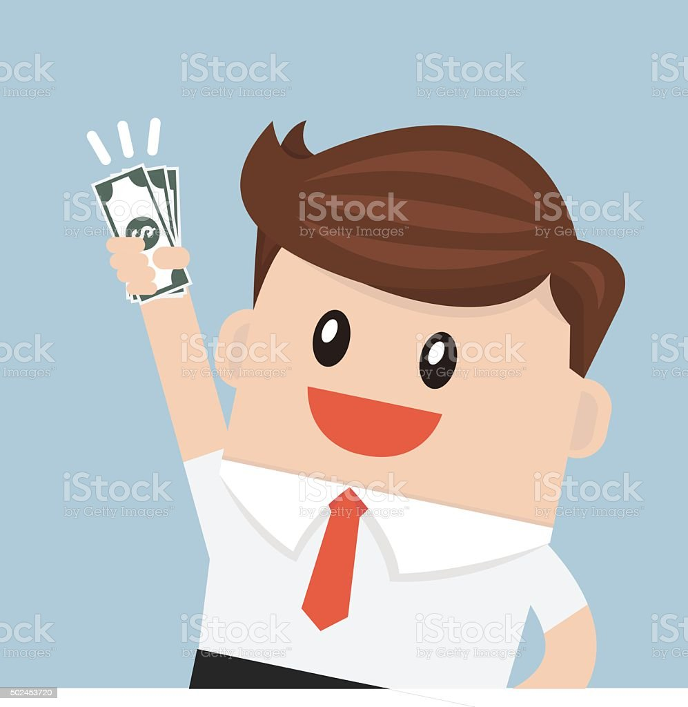 Businessman hold money vector art illustration