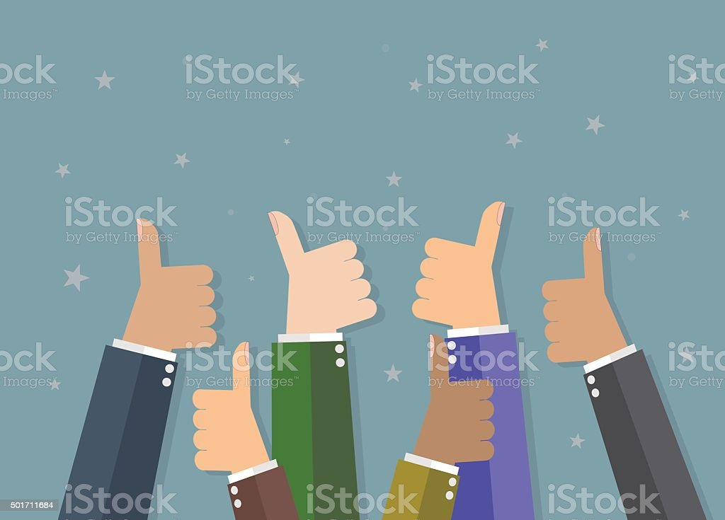 Businessman hold thumbs up vector art illustration